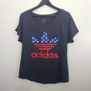 Adidas Logo Stars and Stripes Navy Blue tee